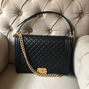 Boy Chanel Handbag Lambskin with Gold Hardware